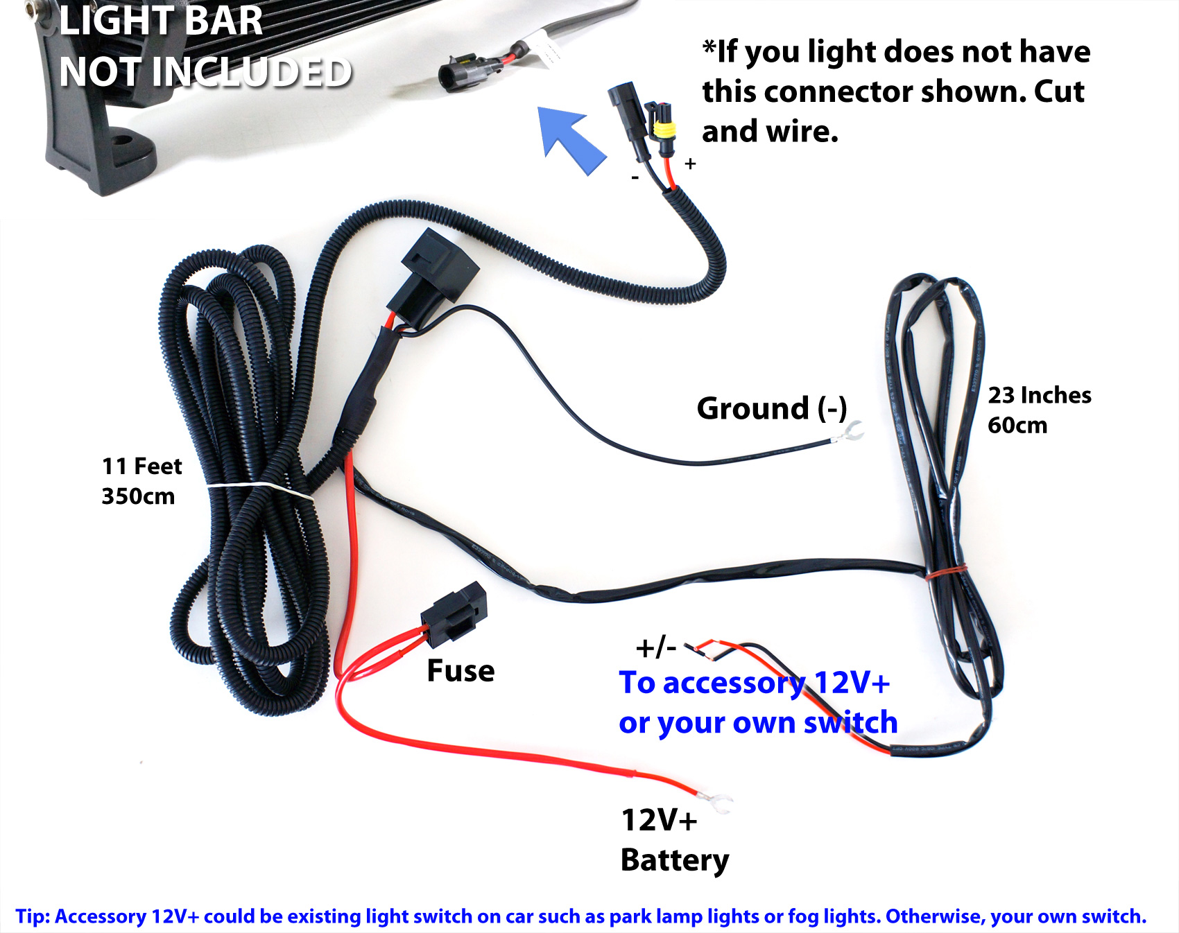 Wiring Diagram For Led Light Bar : Universal wiring relay harness switch for w led
