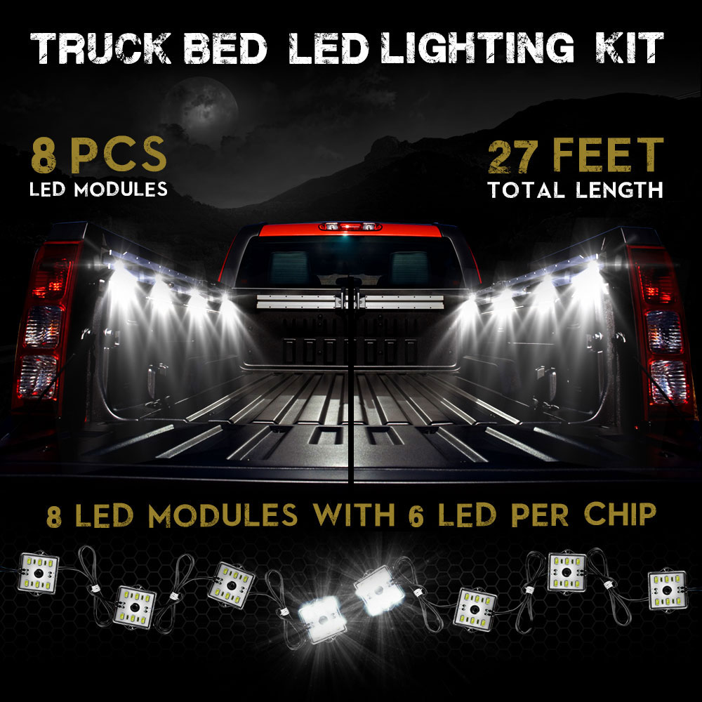 This universal LED kit can be installed anywhere you can imagine. Operates by 12V DC and draws little power. Using the brightest compact SMD chips ...  sc 1 st  Genssi LED & 48 LED Blue 8 Module Exterior Truck Bed Lights | GENSSI LED azcodes.com