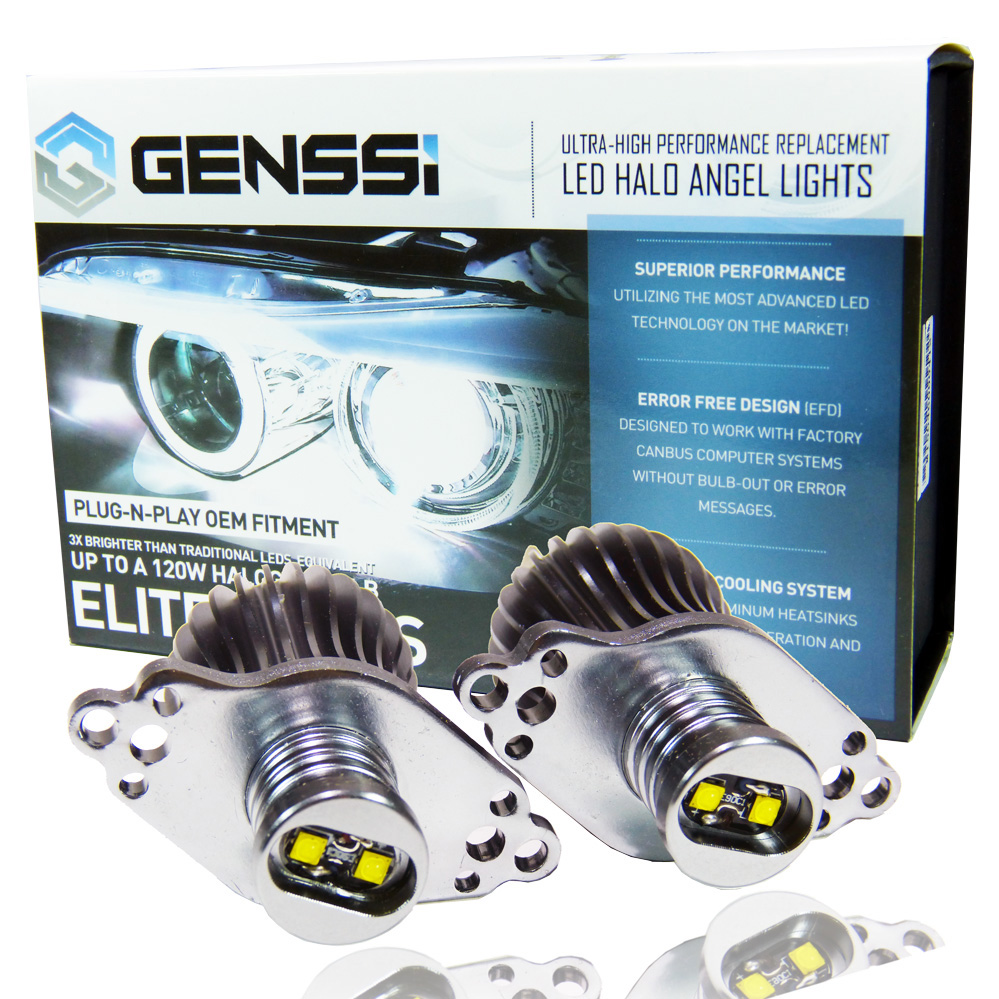 GENSSI 20W+ Angel Eyes Halo LED Bulbs White 7000K For BMW