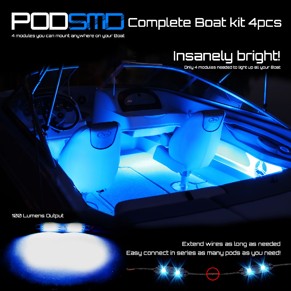 Green 4pc Led Kit For Boat Marine Deck Interior Lighting Ebay