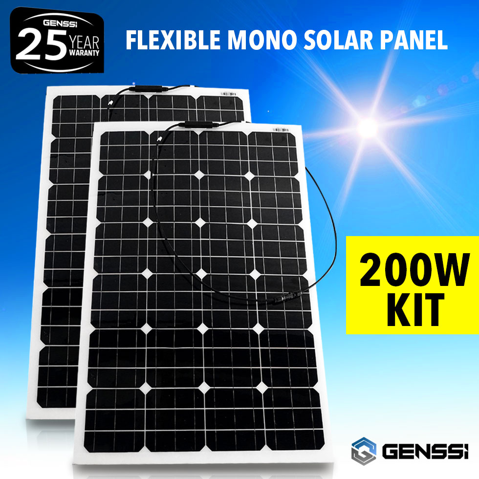 2x Flexible 100w 18v Semi Solar Panel Battery Charger For