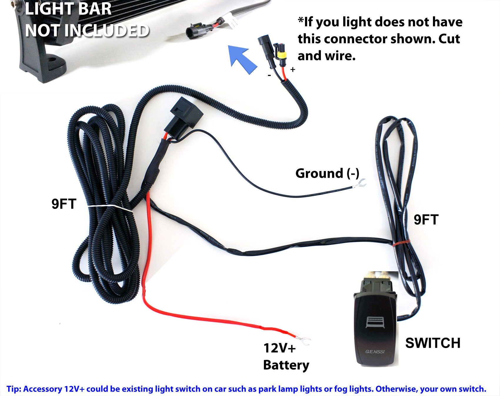40a fog work led light bar wiring harness relay fuse kit rocker rh ebay com