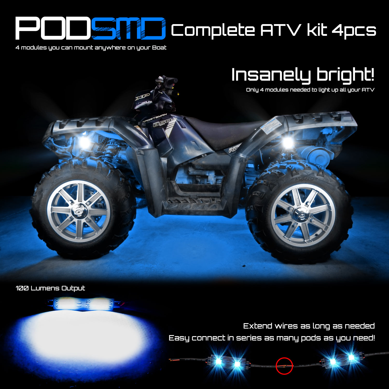 Details About For Pocket Bike Fs509 Cateye X7 Four Led Pods Blue Lights Rock Light Genssi Wiring Harness Podsmd Make Your Atv Glow