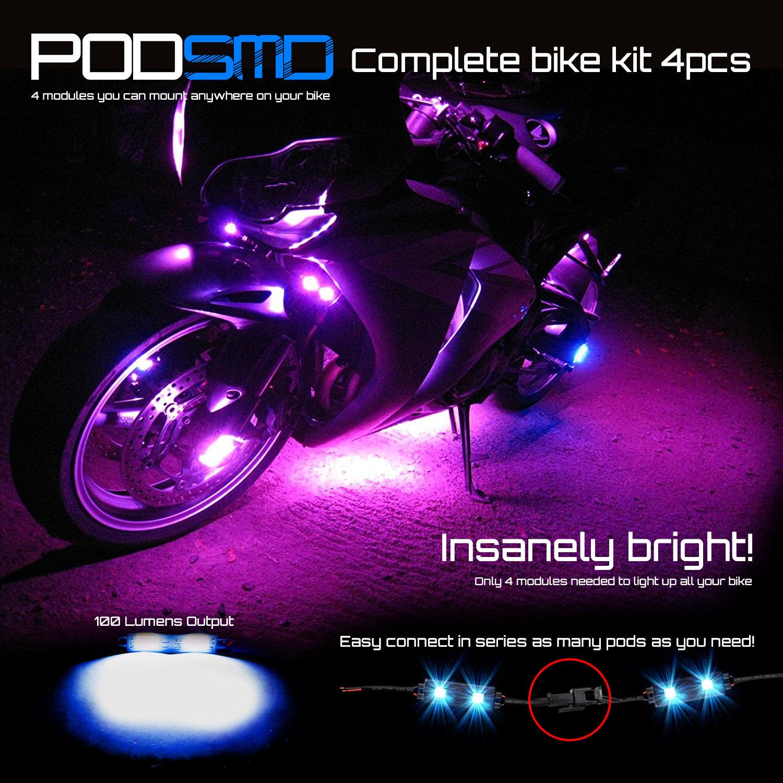 Motorcycle Neon Rock LED Light Underbody RED Glow Kit for Harley Davidson Street