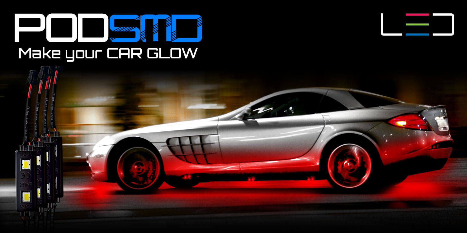 White Rock Led Lights Kit Under Car Neon Accent Underbody